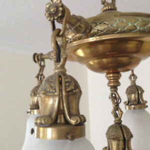 Vintage Lighting. ;Pan Style Chandelier 1900s, Ceiling Light ..