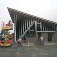 Steel stud framing and drywall boarder