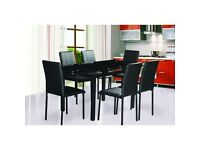 Ex display black glass extending dining table