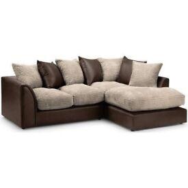 CHEAPEST EVER PRICE-- Brand New Dylan Byron Corner Sofa Fabric Jumbo Cord Grey Black Chocolate Cream