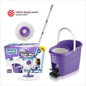 BNIB - White Magic New Foot Press Microfibre Spin Mop