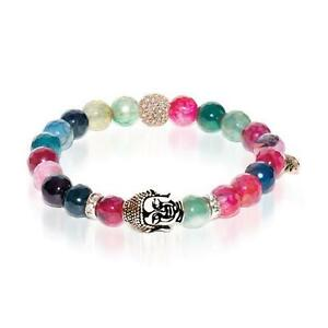 50% OFF All Jewellery - Tantra | Rose Gold Buddha | Multi-Color Faceted Agate Bracelet