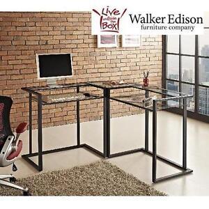 "NEW WE BLACK CORNER COMPUTER DESK WALKER EDISON FURNITURE 56"" BLACK CORNER COMPUTER DESK 105107778"