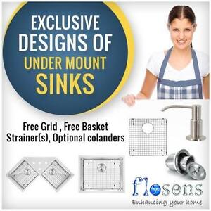 undermount sink | 16 Gauge | Free Grids | SS304 High Grade | Hand Made Only| Many Option to choose