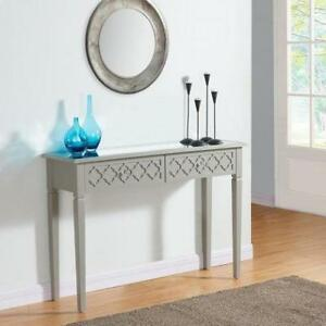 GREY WOODEN CONSOLE TABLE WITH DRAWERS- MIRROR TOP! BEST PRICE!!
