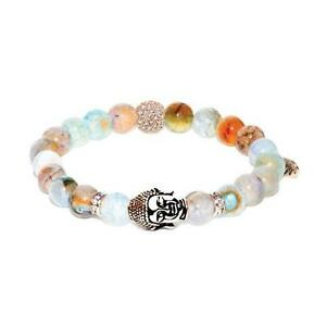 50% OFF All Jewellery - Transcendental | Rose Gold Buddha | Blue Dragon Grain Agate Bracelet