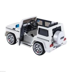 White Mercedes Benz G55 / Children's Ride-On with MP3 outlet