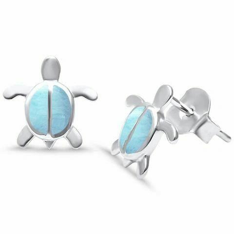 Larimar Turtle Earrings