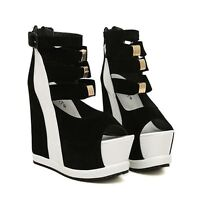 Black and White Women's Wedge Heels Size 38 (fit like a size 7)