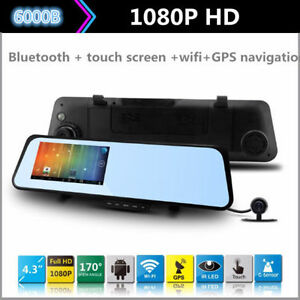6000B Car DVR Android 4 Rearview Mirror Dual Lens Dash Cam-used