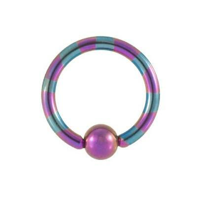 Purple and Blue Striped Anodized Titanium Captive Bead Ring Blue Titanium Anodized Captive Ring