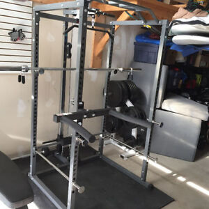 Power Rack Full Cage w Lat Tower, Chin Up Bar, Safety Spotters