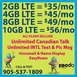 KOODO 8GB LTE $49/mo, 10GB LTE $56/mo + UNLTD CAD Talk & INTL Text  ~ Plans By Cell Phone Guru