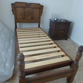 OAK BED HEAD AND FOOT with frame large single circa 1920s. Separates and folds in half. New slats.