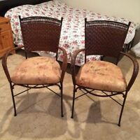Wicker and Wrought Iron Chairs