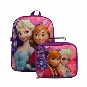 "Disney Frozen Elsa & Anna 15"" Backpack + Insulated Lunch Bag Sil"