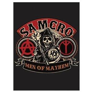 """New Sons of Anarchy Mayhem Velour Blanket 60"""" X 80"""" Official"""