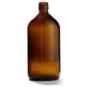 NEW Brown Glass 1L Bottle Vase Home Decor. Exc Cond