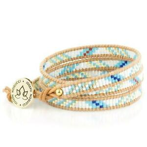 50% OFF All Jewellery - Summer Skies | Leather Wrap | Stone LotusBracelet