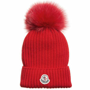 MONCLER Women's Wool Hat with Fur Pom Pom