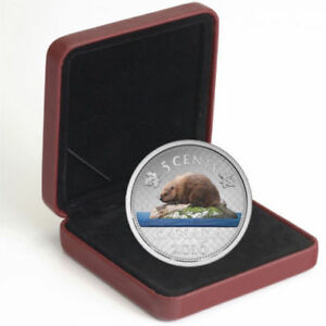 2016 5 Cent Fine Silver Coin-Coloured Big Coin Series-Beaver