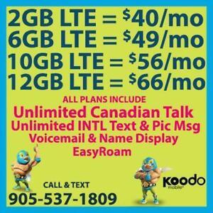 KOODO 6GB LTE $49/mo, 10GB LTE $56/mo + UNLTD CAD Talk & INTL Text  ~ Plans By Cell Phone Guru