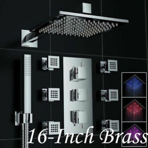 NEW Rainfall LED Thermostatic 16in (40cm) Shower Set w/6 Body Je