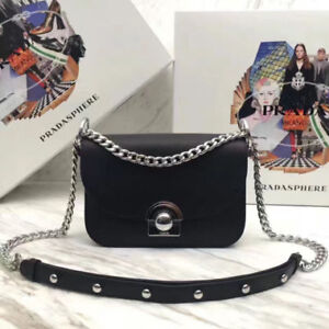Gorgeous Prada Chain Black Crossbody Bag Purse, Black, NEW