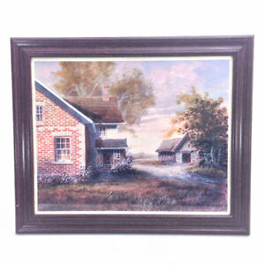 Vintage Karl Illini Painting Print In Wood & Glass Frame Country