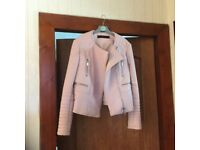 Pink Zara leather look jacket