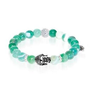 50% OFF All Jewellery - Astral Adventurer | White Gold Buddha | Green Striped Faceted Agate Bracelet
