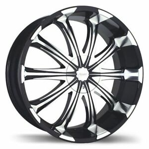 "Fast Avatar 20"" rims 2 tone rims black and chrome w/ tires"