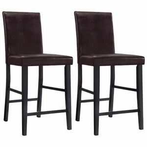 ELEMENTS Faux Leather Counter Height Chair Black brown $45