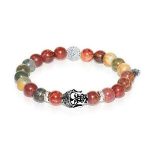 50% OFF All Jewellery - Shaolin Monk | White Gold Buddha | Red Picasso Jasper Bracelet