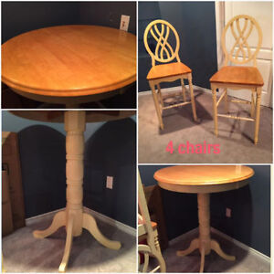 Solid wood high table and 4 chairs $500 obo Real wood table - Ex