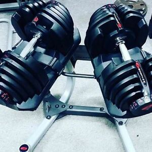 bowflex 1090 , adjustable dumbbells and stand 90 lbs each