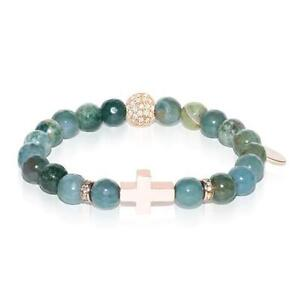 50% OFF All Jewellery - St. James | Rose Gold Cross | India Faceted Agate Bracelet