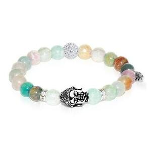50% OFF All Jewellery - Four Noble Truths | White Gold Buddha | Light Green Faceted Agate Bracelet