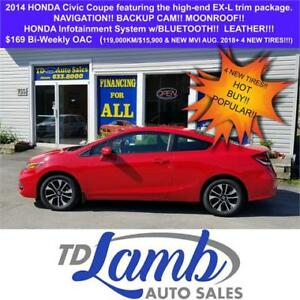 2014 Honda Civic Coupe EX-L $169 Bi-Weekly