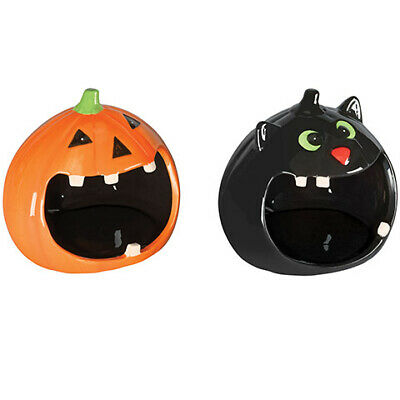 Darice Halloween Big Mouth Fall Decor: Ceramic: 6 x 5.5 inches Black Cat Pumpkin - Halloween Cat Mouth
