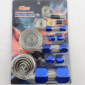 Braided Stainless Hose & Wire Sleeve Cover Kit Inc Blue Aluminium Clamp Covers