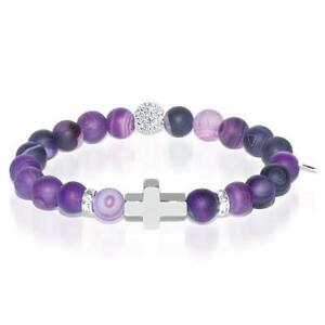 50% OFF All Jewellery - St. Joan of Arc | White Gold Cross | Matte Purple Striped Agate Bracelet