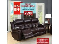 GIZELLE RECLINING SOFA - 30% OFF - FREE DELIVERY !!!