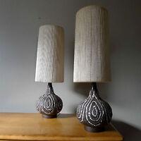 Pair Vintage Mid Century Lava Volcanic Ceramic Lamps