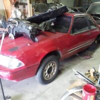 1990 mustang coupe rolling shell BLACK interior
