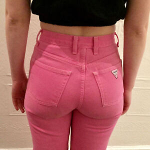 Bubble Gum GUESS Jeans, High Waisted Slim Fit Tapered Leg