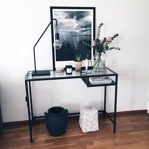 Ikea VittsjÖ Laptop Table Black Brown Gl