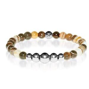 50% OFF All Jewellery - Abundance   Silver Aura Grey Line Agate Bracelet