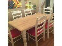 6ft Shabby chic table with deep pink upholstery