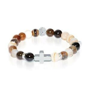 50% OFF All Jewellery - St. Mary Magdalene | White Gold Cross | Grey Striped Agate Bracelet